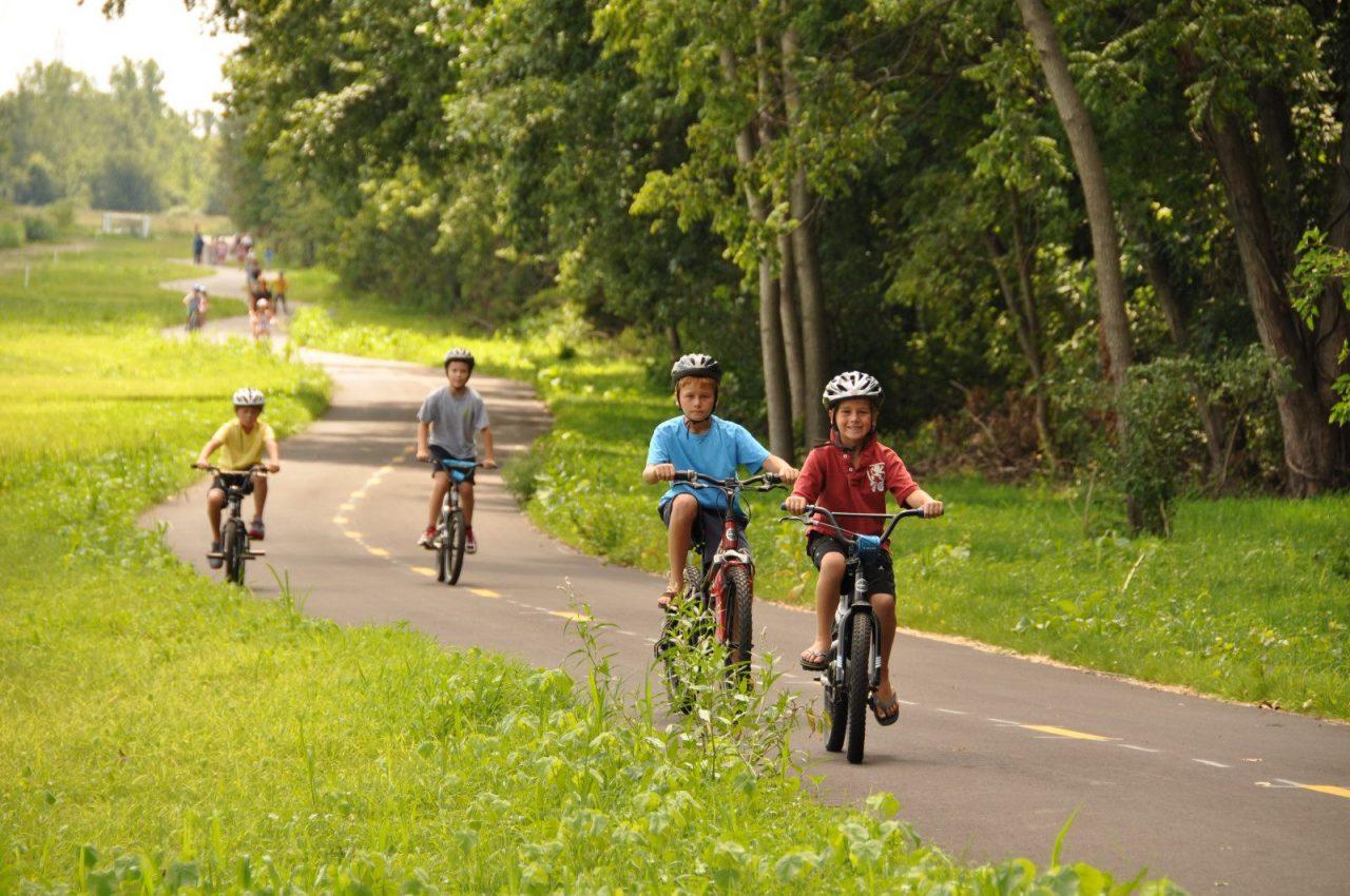 Children biking on Towpath