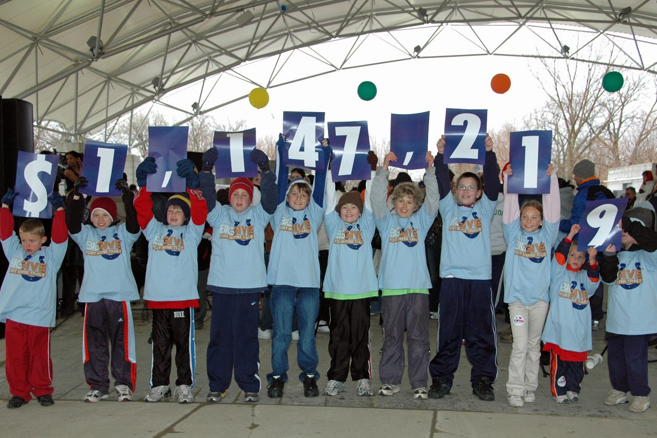 Children holding signs that read $1,147,219
