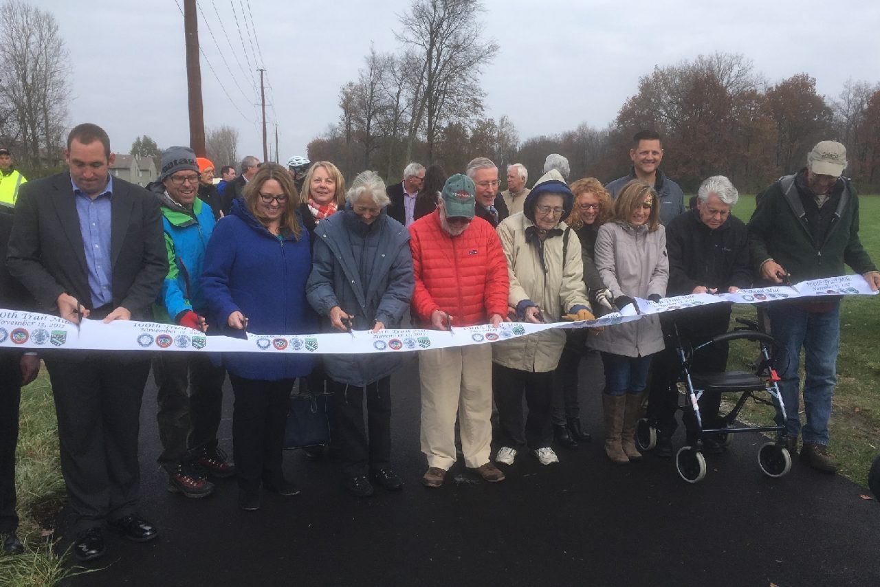 Rivergreenway Consortium Board and Fort Wayne Trails Board at 100 Mile Ribbon Cutting