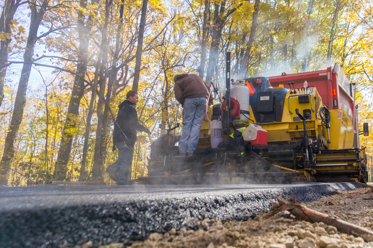 Heavy equipment paving new trail