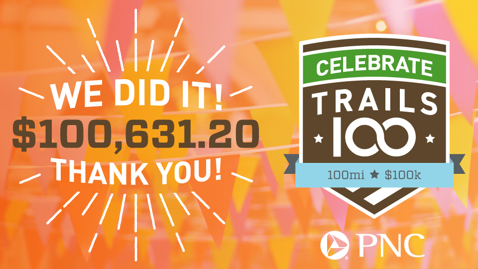 Celebrate Trails - 100 Miles, $100K - We did it! $100,631.20. Thank you! Sponsored by PNC